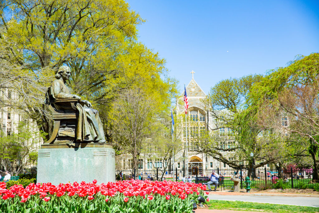 John Carroll statue in Spring