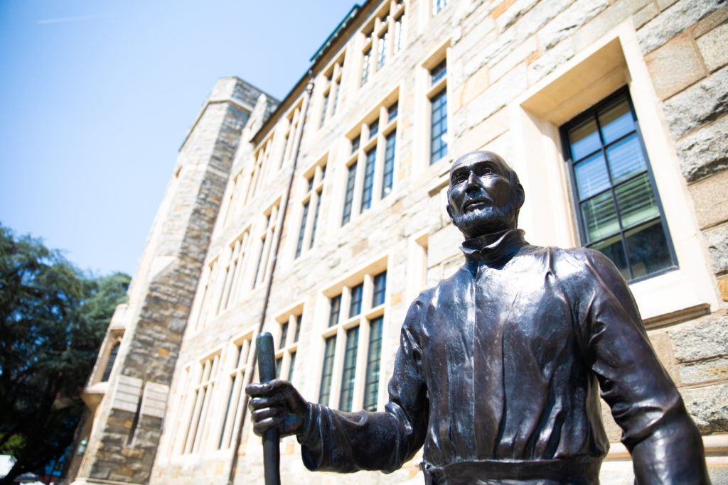St. Ignatius statue in front of White Gravenor Hall