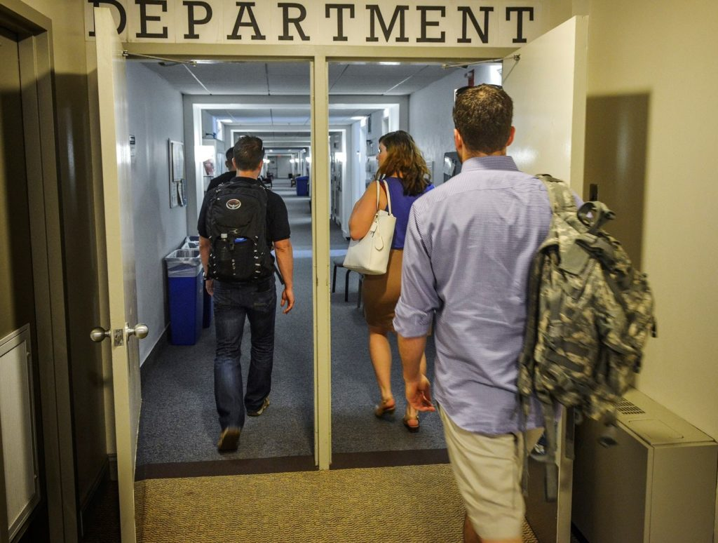 Student veterans heading to class.